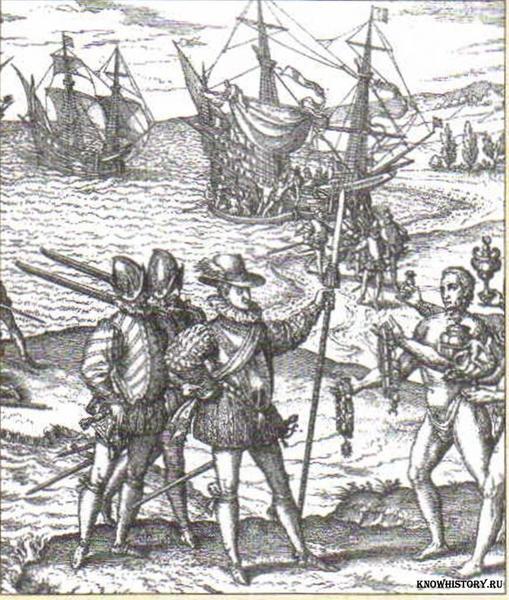 Колумб объявляет о. Сан-Сальвадор владением Испании. Гравюра XVI в.