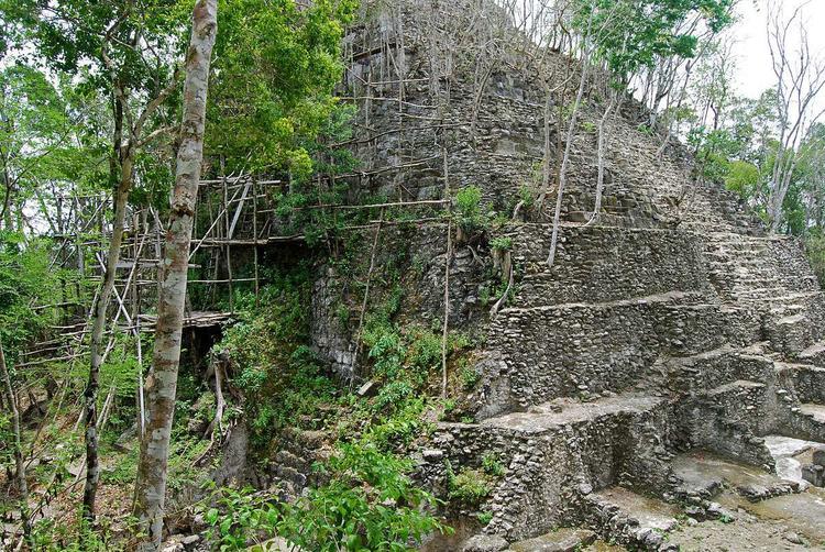 Руины пирамиды майя в Эль-Мирадоре