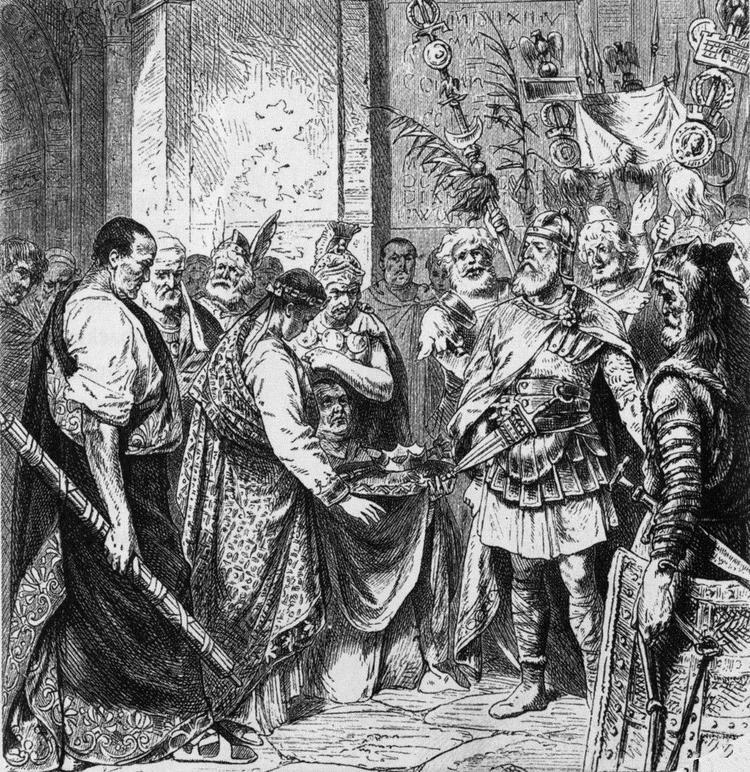 Встреча Одоакра и Ромула Августула, изображённая в графике