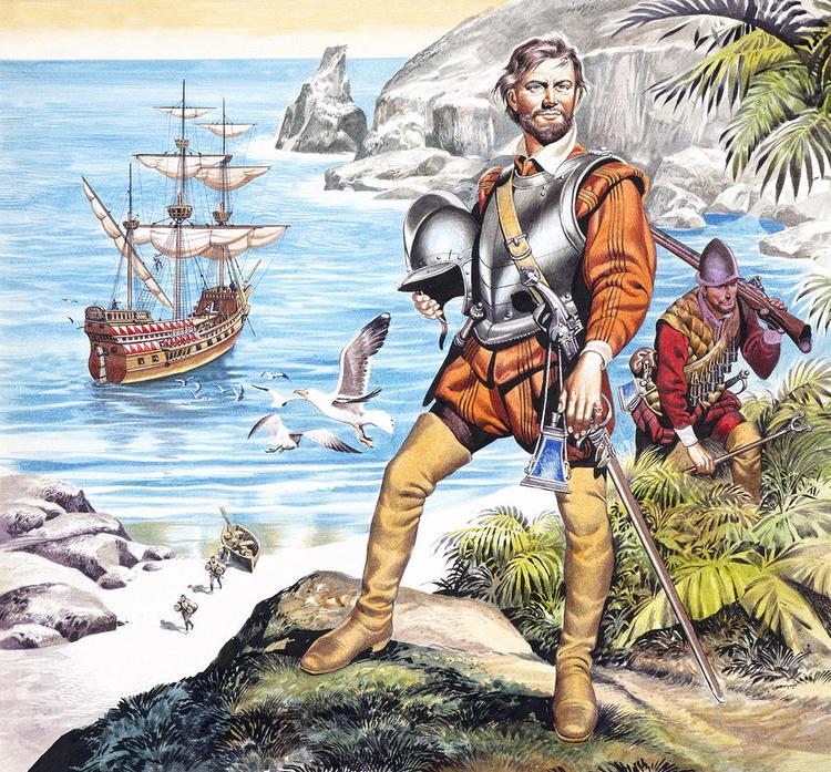 Фрэнсис Дрейк и члены его команды высаживаются в неведомых землях