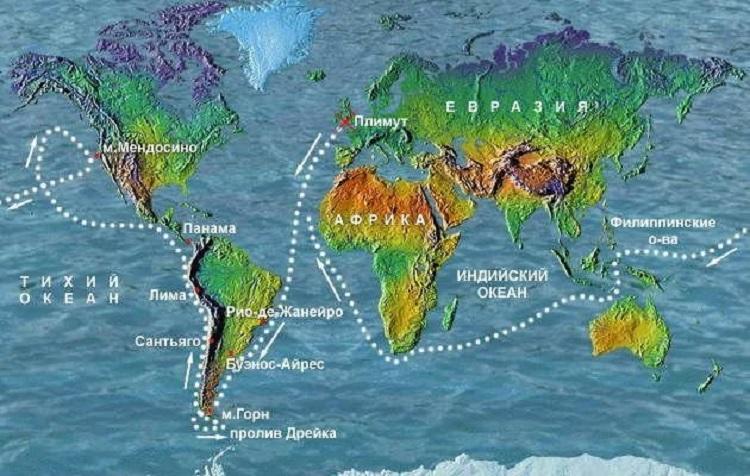 Маршрут кругосветного путешествия Дрейка на карте
