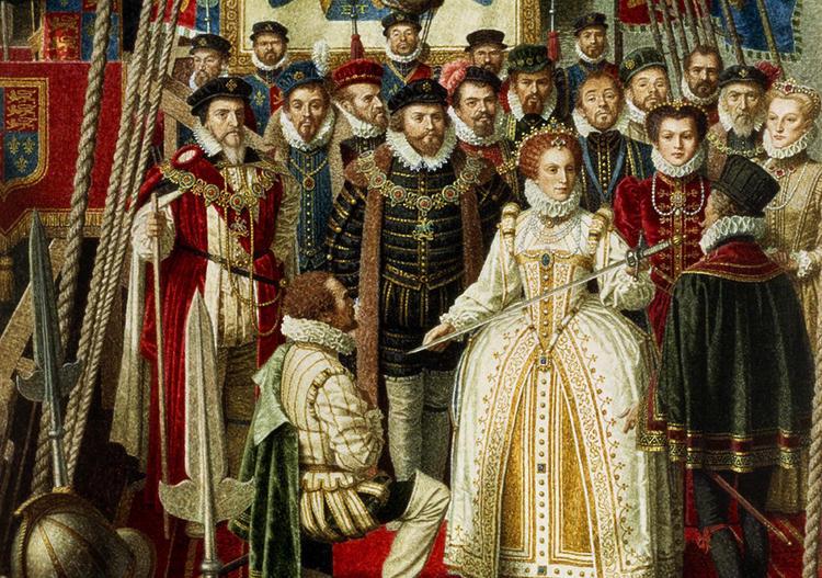 Елизавета I прямо на корабле посвящает Дрейка в рыцари