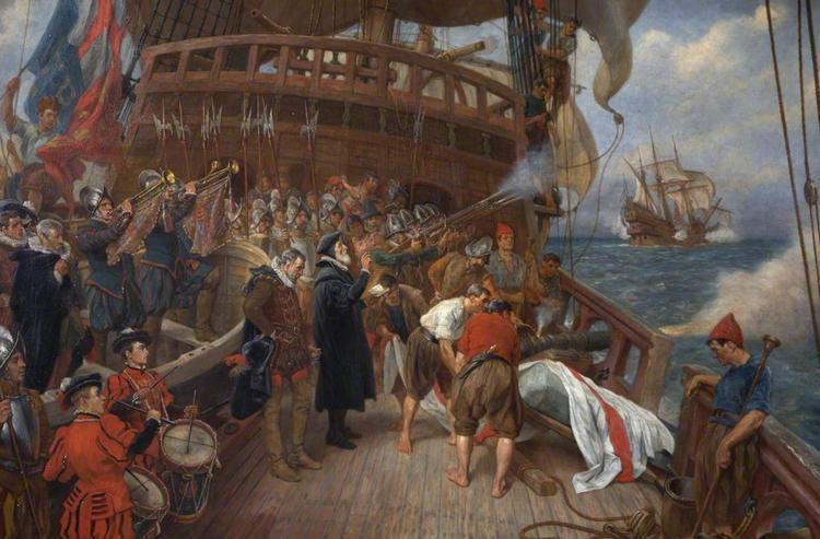 Картина художника Томаса Дэвидсона «Похороны адмирала Дрейка»