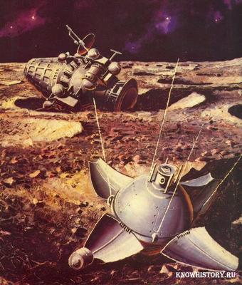 """Советский зонд""""Луна-9""""опустился на поверхность спутника Земли в Океане Бурь"""