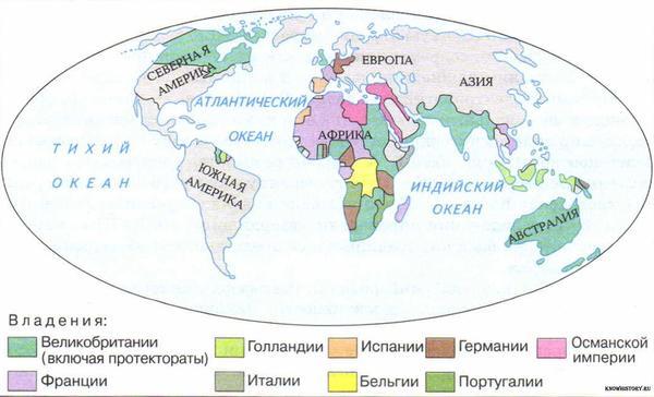 Колониальные владения европейских держав к 1910 году