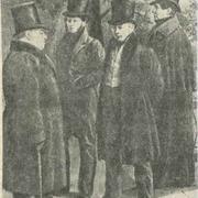 И. А. Крылов, А. С. Пушкин, В. А. Жуковский, Н. И. Гнедич. Худ. Г. Чернецов