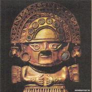 Золотой лик с ритуальной секиры. Перу
