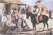 Семья крестьян гуахиро у ворот конного завода, последняя треть XIX в. В. П. де Ландалусе (1825—1889). Кубинский график и живописец.