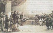 Мохаммед Али-паша беседует с английским и французским военными советниками, которые находились у него на службе