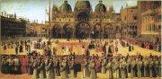 Дж. Беллини. Процессия с реликвией Св. Креста на площади Св. Марка. Венеция. 1496 г.